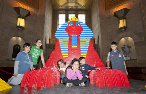 Kids hanging out with Lego Sphinx
