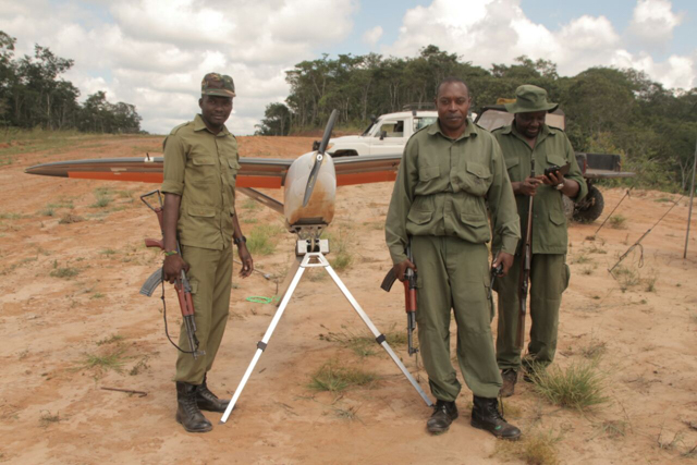 Anti-poacher units use surveillance drones to track poachers in national parks and reserves. This model from a Tanzanian drone company can identify people from up to 15,000 feet. Photo provided by Bathawk Recon