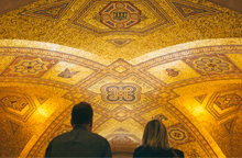 A view of the ROM's famous Mosaic ceiling, located in the musuem's ceremonial entrance hall