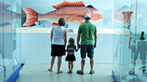 Family exploring the Royal Ontario Museum