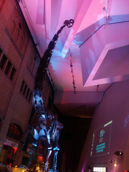 Photo of a dinosaur skeleton in the ROM front entrance