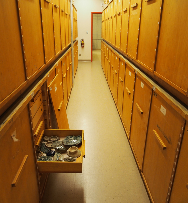old plywood cabinets were designed for storing archaeological materials in ROM facilities