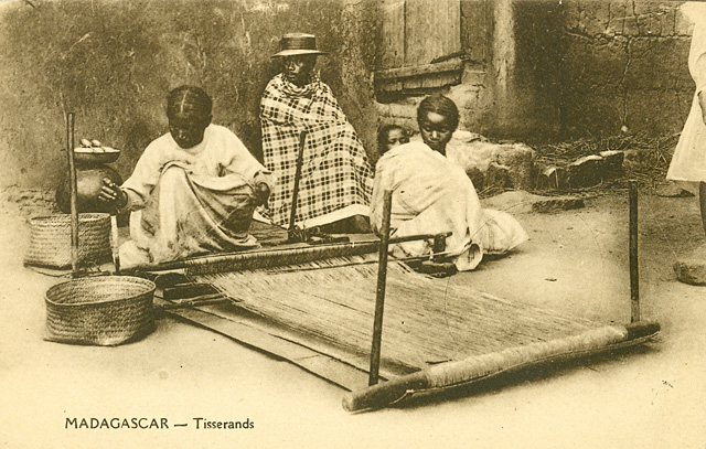 Weaving raffia on the Malagasy Ground Loom, postcard private collection