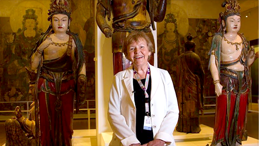 Woman standing inside the Royal Ontario Museum's popular Chinese Galleries.