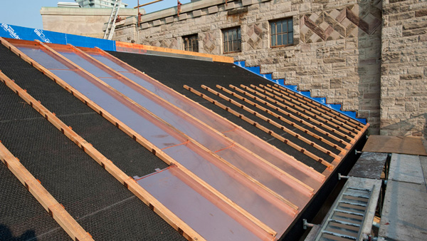 The first copper panels installed