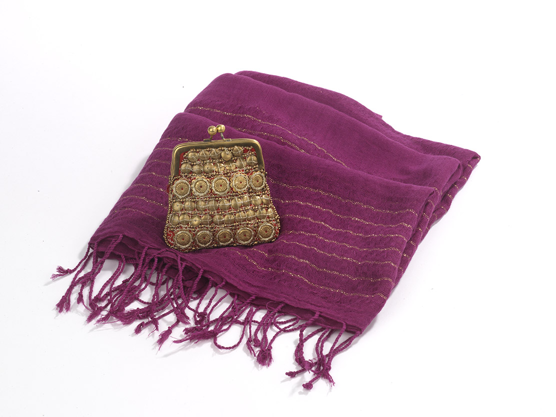 Beaded Coin Purse and Lurex-Striped Shawl