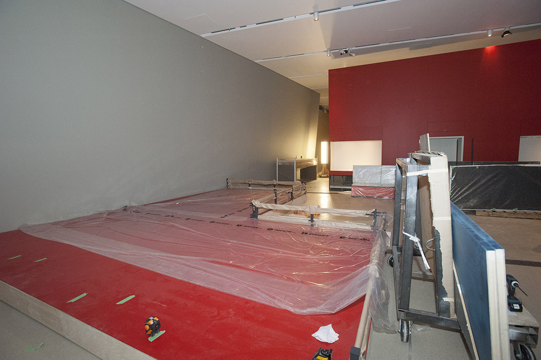 Installing Forbidden City Exhibition at the ROM, View of Red walls and plinth