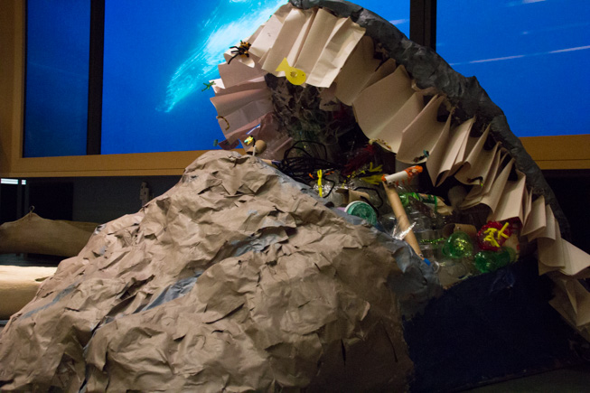 Inspired by the ROM Blue Whale Exhibit, The Ocean Scapes ROM Summer Club (ages 11-14) created this sculpture to represent the devastation ocean plastics are having on marine wildlife populations. Photo credit: Cristina Bergman