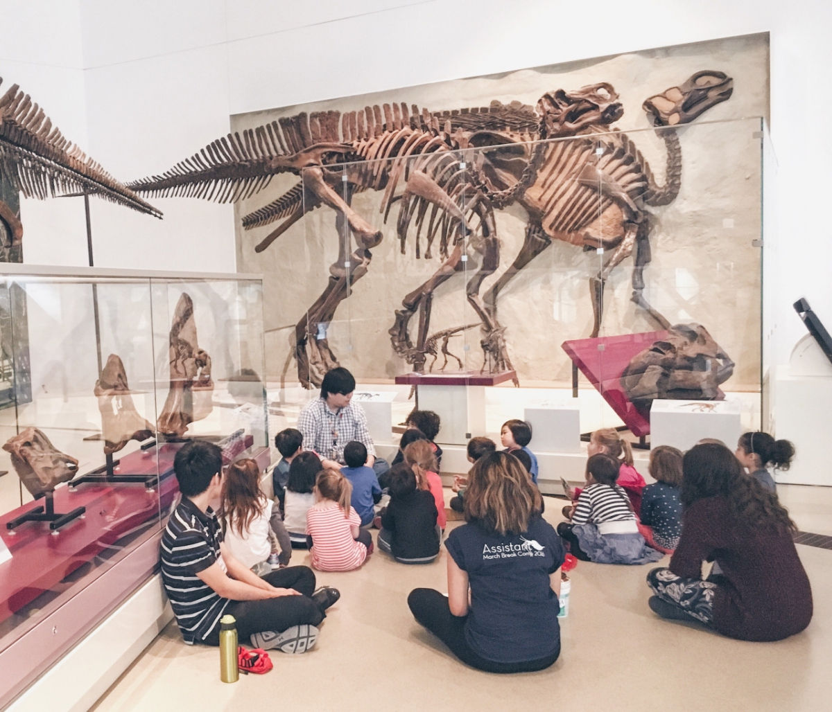 Johnson, a former volunteer and now instructor, teaches his 5 year old class about the Good Mother Lizard Maiasaura.