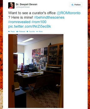 ROM100 Celebration Twitter picture of Dr. Deepali Dewan's curator's office