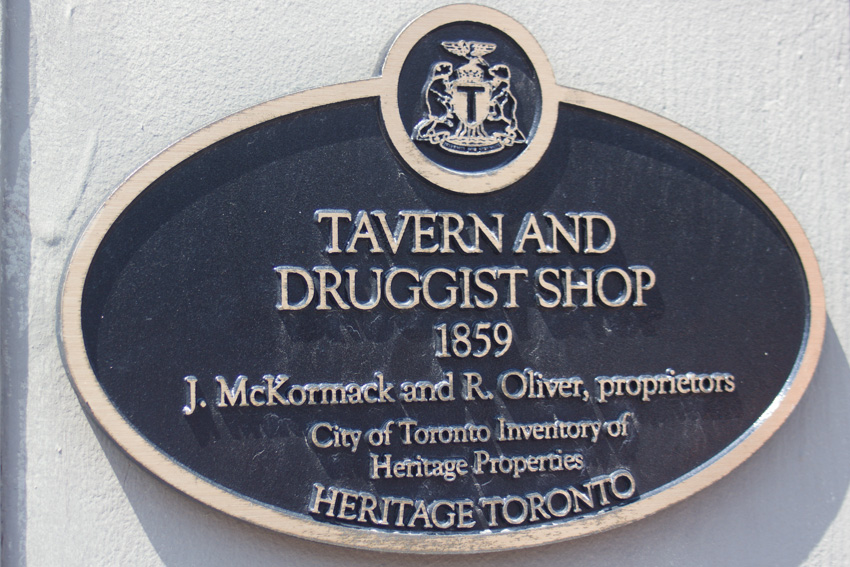 A plaque on one of the heritage buildings viewed during the ROM Walk program