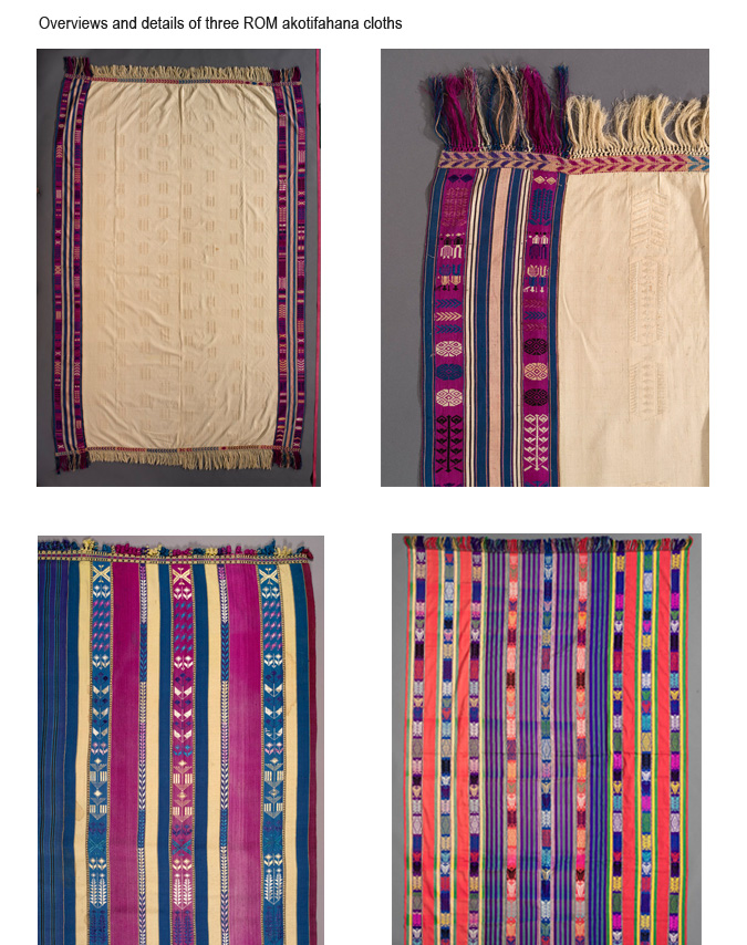 Overviews and details of three ROM akotifahana cloths