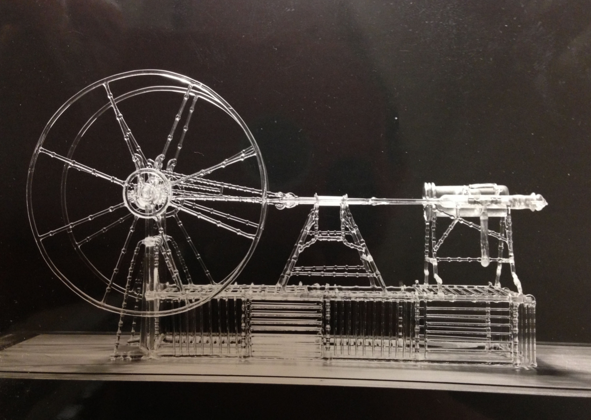 glass model of a steam engine