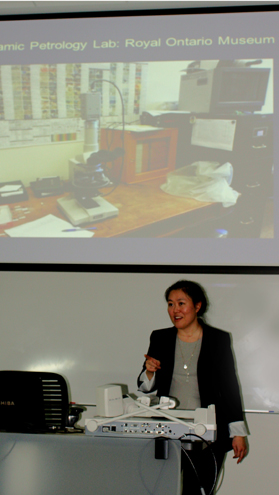 Kay Sunahara giving a lecture at University of California, Merced - photo by David Brantley
