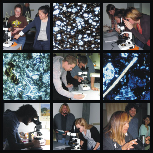 Ceramic petrology workshop participants & thin-sections of actual ceramics - photos by David Brantley, Holley Moyes & Kay Sunahara
