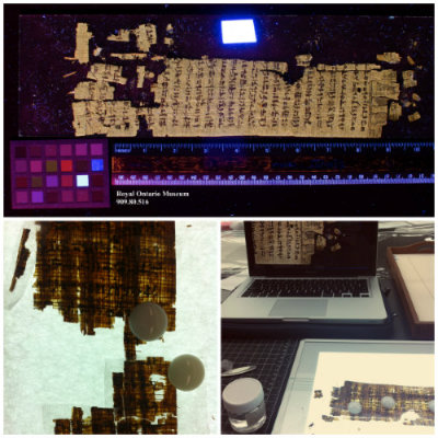 By using different photographic techniques, the surface details of the Egyptian papyrus, which is quite dark, becomes more legible. The fragile condition of the papyrus is most apparent when examined on a light table. Photos by Natasa Krsmanovic (top and bottom right) and Jaime Clifton-Ross (bottom left).
