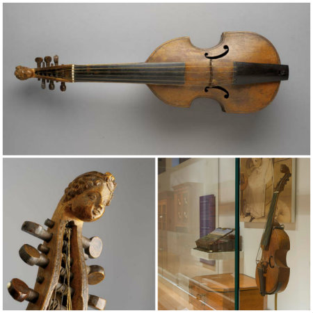 Treble Viol Dessus on display in gallery and instrument detail