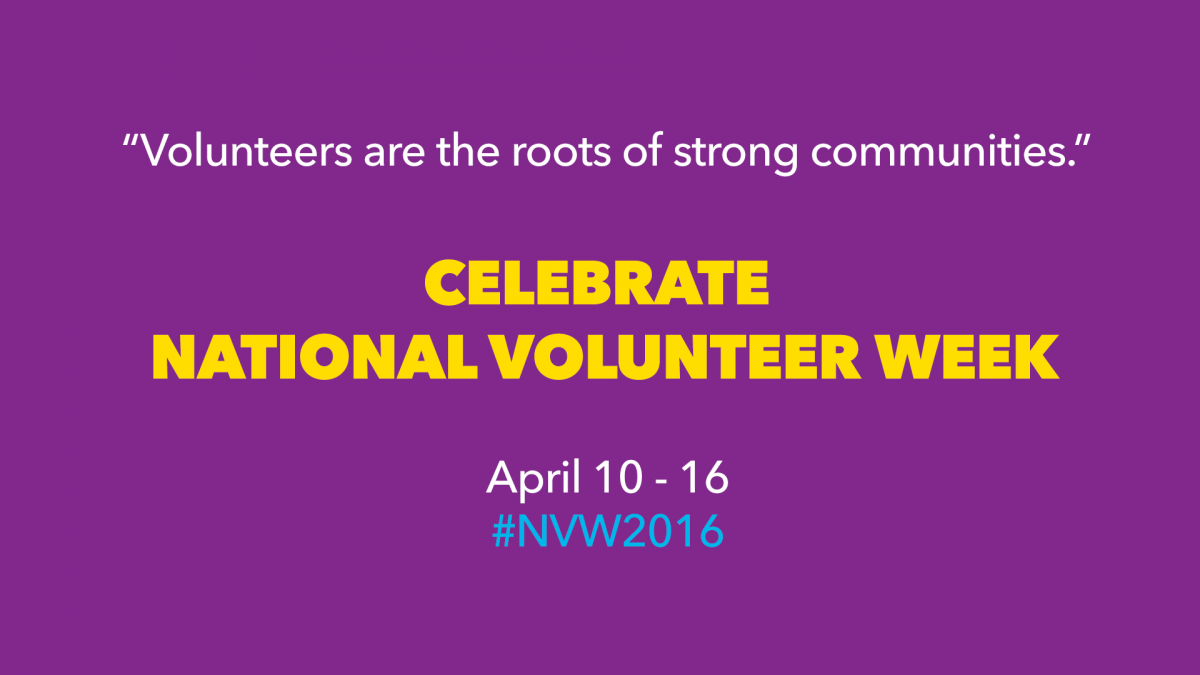 White text on purple background, celebrating National Volunteer Week from April 10 - 16.