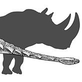 Illustration of Zuul next to a rhinosaurus silhouette