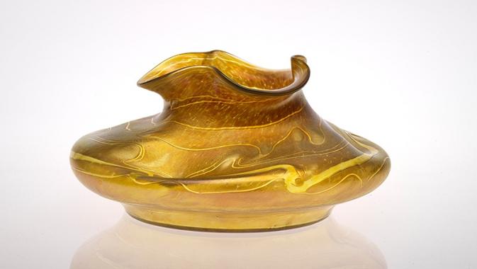 Amber glass vase.
