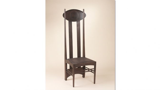 Modern styled chair with very tall back.