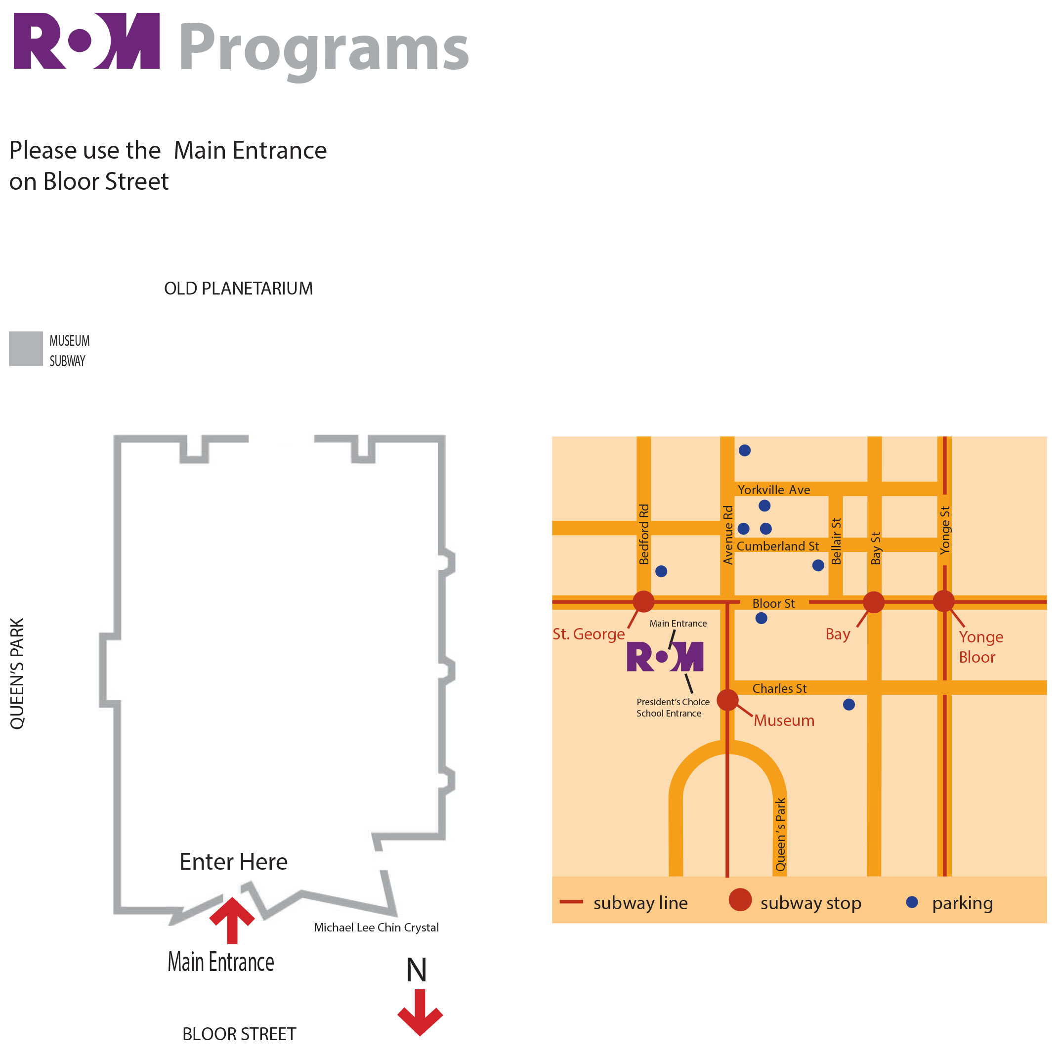 ROM Map: Street map and building layout with main entrance.