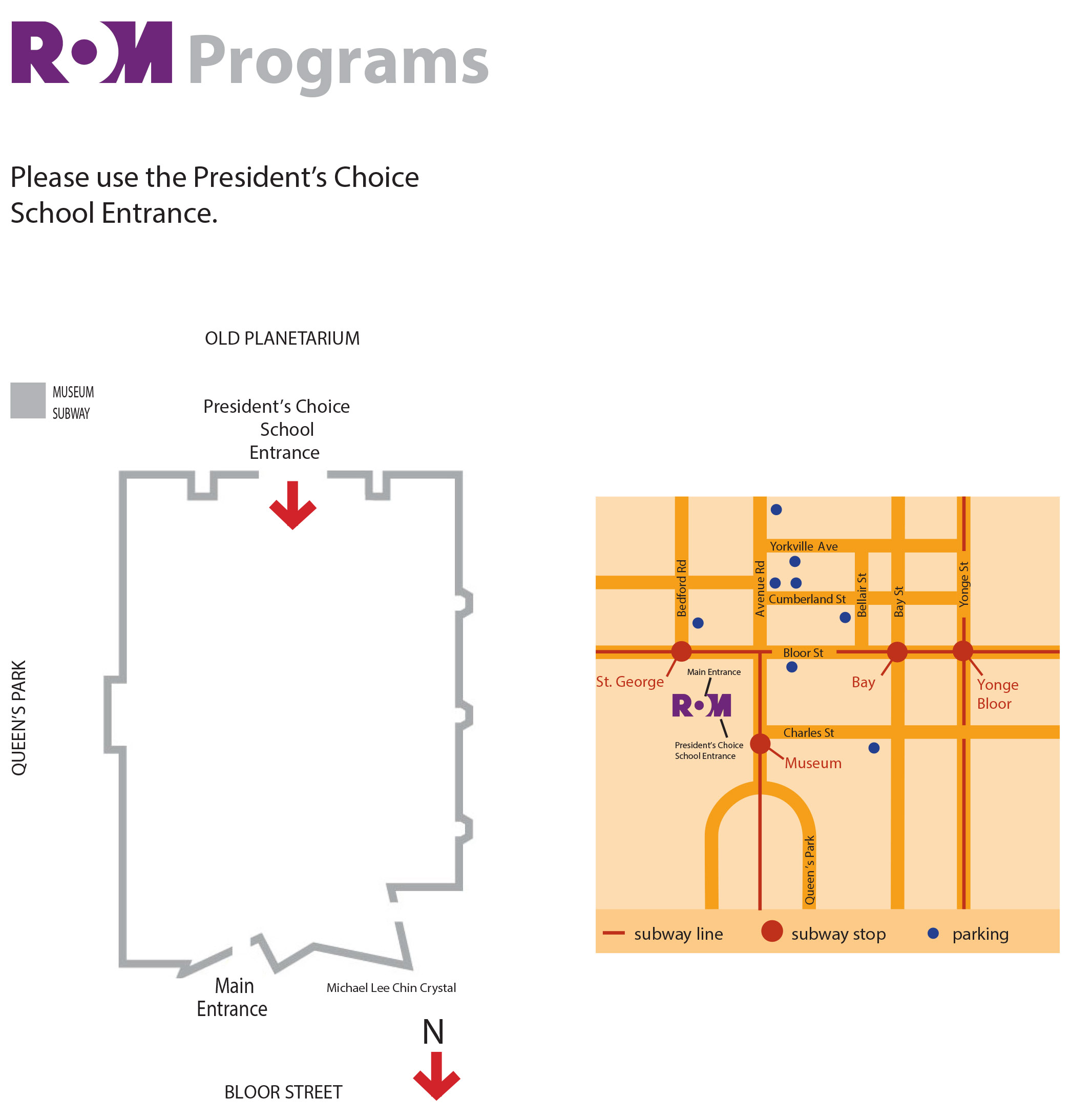 ROM Map: Street map and building layout with school entrance.