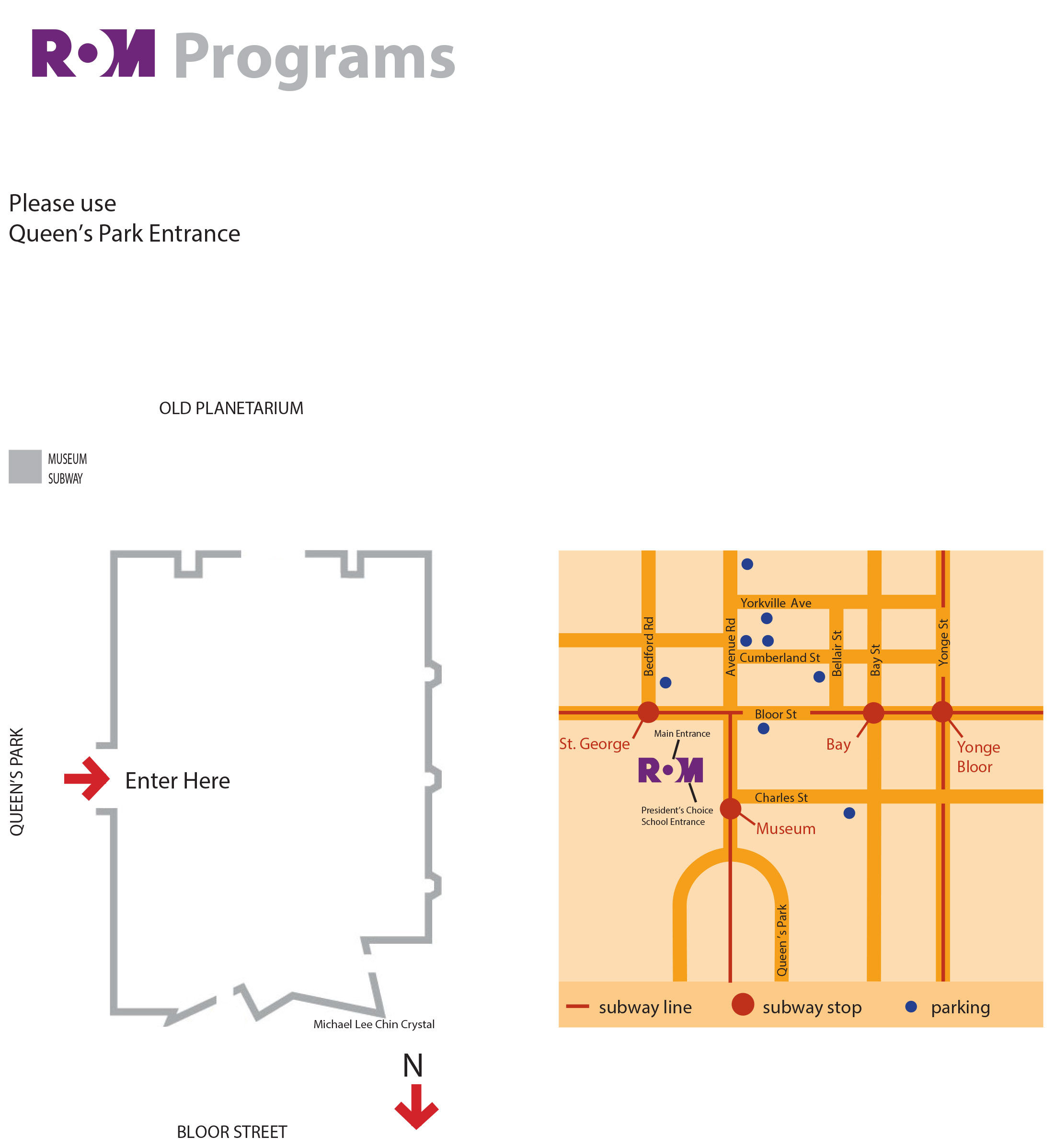 ROM Map: Street map and building layout with Queen's Park entrance.