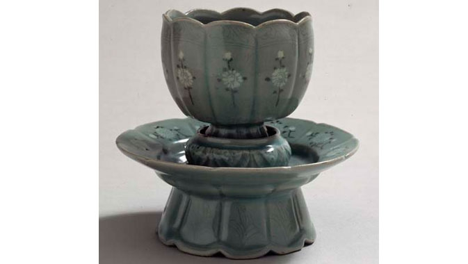 Celadon Cup and Stand (glazed stoneware), Koryo Dynasty, Korea, 1150 - 1250 AD.