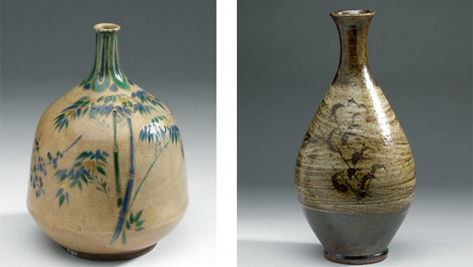 Left: Bottle (glazed stoneware), Edo period, Japan, 1670 – 1750 AD. Right: Bottle (glazed stoneware), Showa period, Japan, 1940 – 1965 AD.