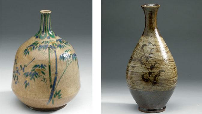 Gauche : Bouteille (grès à couverte), époque Edo, Japon, 1670-1750. Droite : Bouteille (grès à couverte), époque Showa, Japon, 1940-1965