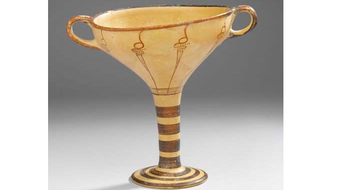 Mycenaean artistry reflected in a ceramic kylix.