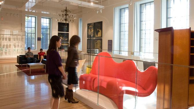 Red sofa made by Canadian designer Karim Rashid.