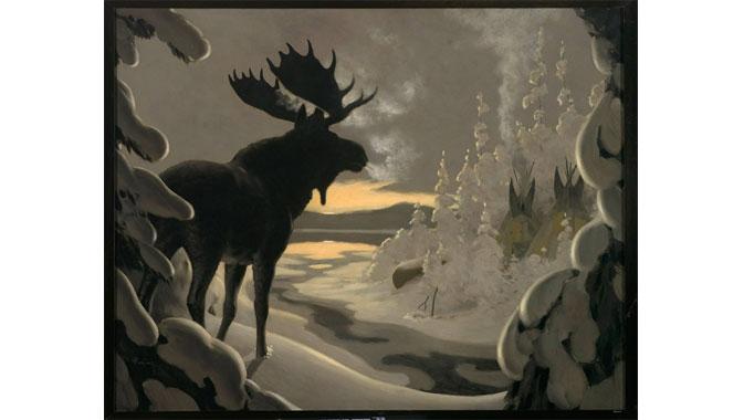 Le campement de chasse, huile sur toile, A.A. Heming, 1919