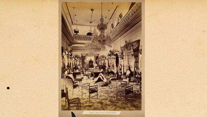 Salon de réception du palais de Bashir Bagh, 1888. Raja Deen Dayal. Épreuve à l'albumine