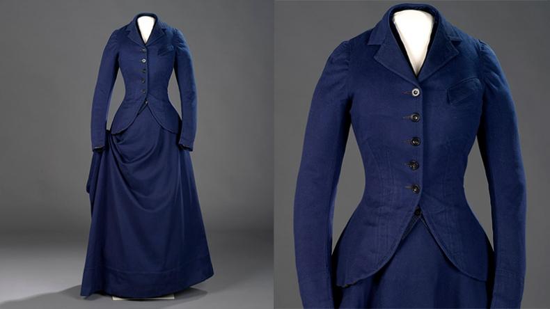 Veste, gilet et jupe, costume d'équitation quatre pièces. Fin des années 1870, laine et velours, Canada, 925.38.19.A-C. Don de Dorothy Buhler