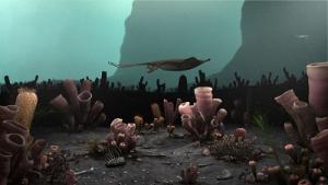 ancient organisms swim in an ocean