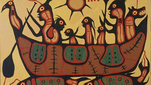 "Image of ""Migration"", acrylic painting by Norval Morrisseau"