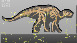 a dinosaur surrounded by sparkles