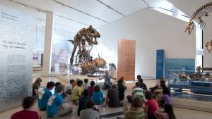 Enfants assis devant un dinosaure au ROM