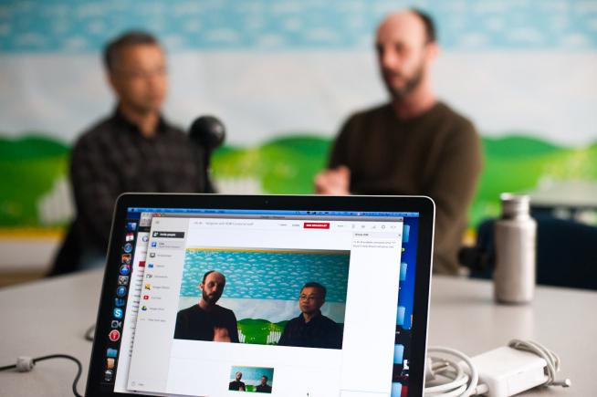 Google+ Hangout on Air, photo courtesy of Brennan Caverhill.
