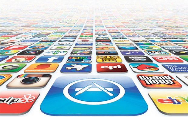 Graphic with sea of app icons