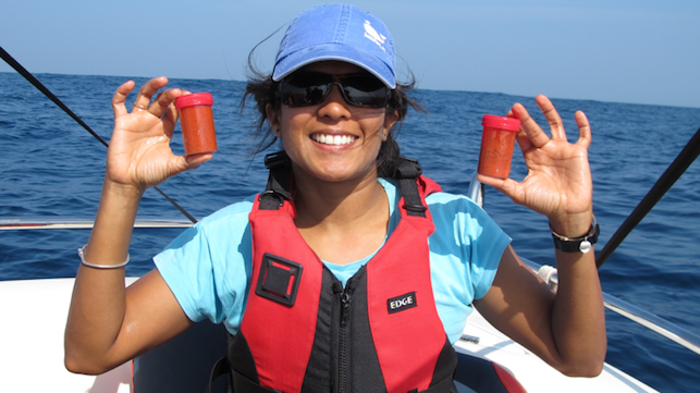 Asha de Vos, P.h.D. holds two bottles of freshly collected blue whale poop off the coast of Sri Lanka. Photo Credit: Oceanswell