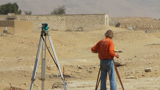Dr. Kemp at an archaeology site in the desert