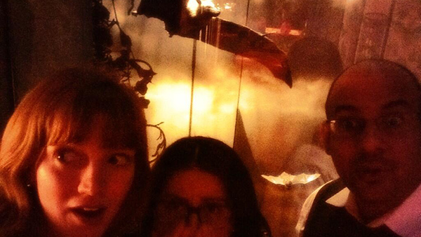 Visitors take a selfie inside the bat cave.