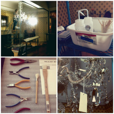 Emily cleaning Neoclassical Chandelier with tools and supplies. Photos by Jaime Clifton-Ross