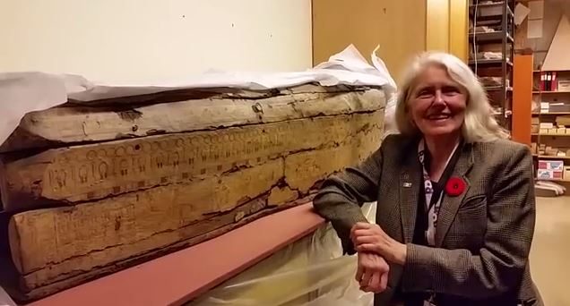 Gayle Gibson with Nefret-Mut's coffin