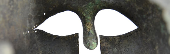 Through a warrior's eyes: detail of the Nugent Marathon helmet  (ROM no.926.19.3 - photo Kay Sunahara)
