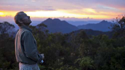 Entomologist Chris Darling looks at the mountain during sunset.