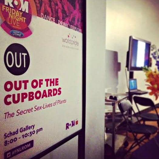 """Sign for the botany table in the Schad Gallery for the """"OUT of the cupboards"""" event"""